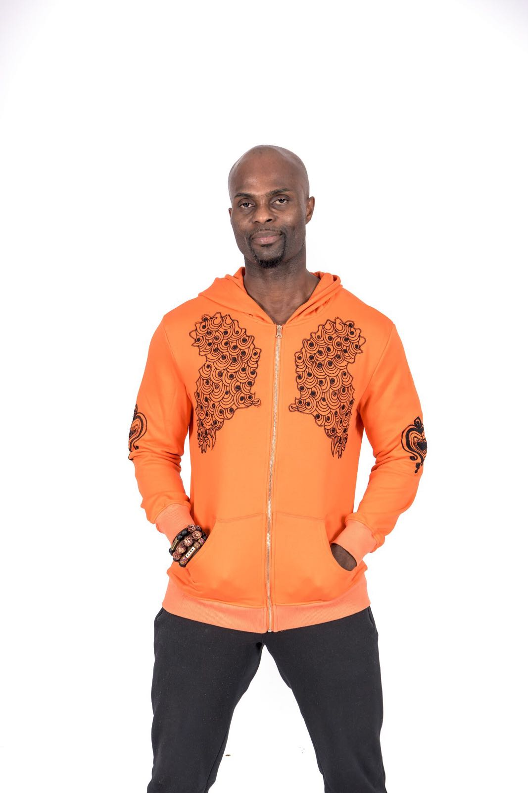 566490434 Orange and Black Twin African Map Embroidered Unisex Hoodie • Kwabs ...